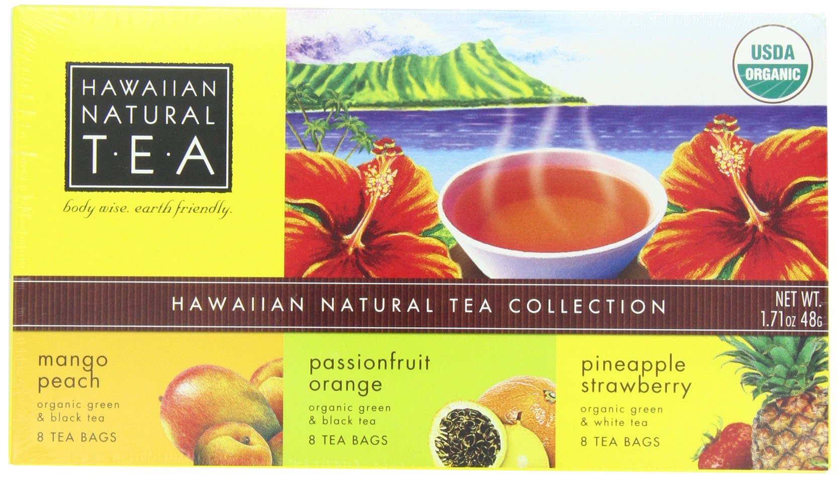 Hawaiian Natural Tea 3 Box Gift Set (3 Flavors), 24-Count (Pack of 2)