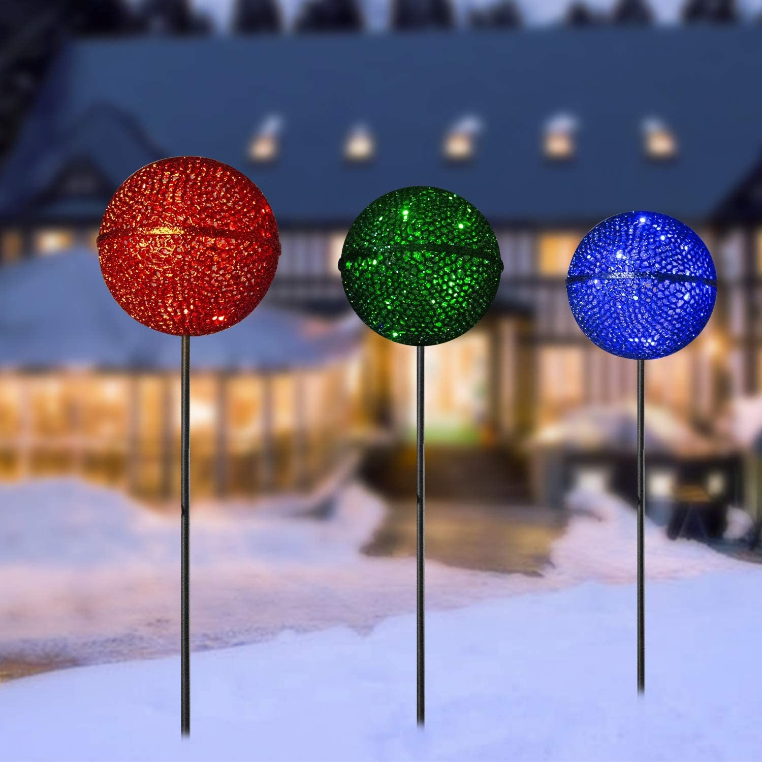 Vanthylit 3PK Christmas Garden Stakes Multi-Coloured Pathway Lights with Crackle Ball Outdoor Decorations for Garden Christmas Pre-lit Blue Green Pathway Markers Lights Outdoor Stake Light Decor