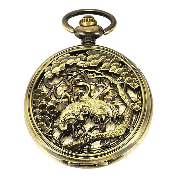 Reloj de bolsillo - Grúa de corona roja Cazador ManChDa Automático Mecánico Reloj de bolsillo Bronce