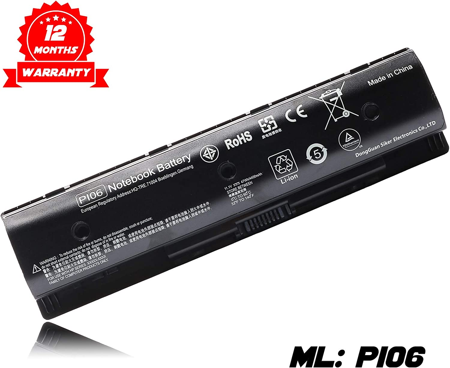 PI06 P106 Notebook Battery for HP Pavilion Touchsmart 14 15 17 Envy Touchsmart 14 15 17 Series Laptop Fits HP Spare 710416-001 710417-001 Hstnn-Lb40 Hstnn-Lb4N Battery-11.1V 47Wh