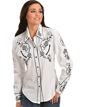 479f22cc Scully Women's - Floral Embroidered Retro Western Shirt at Amazon Women's  Clothing store:
