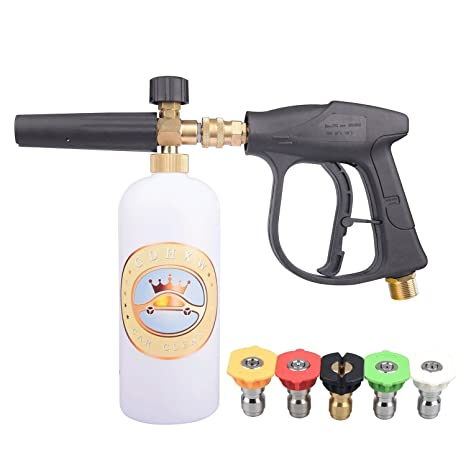 MATCC Foam Cannon Snow Foam Lance Pressure Washer Jet Wash with 1//4 Quick Connector Foam Blasters 5 Power Washer Nozzle Tips for Cleaning