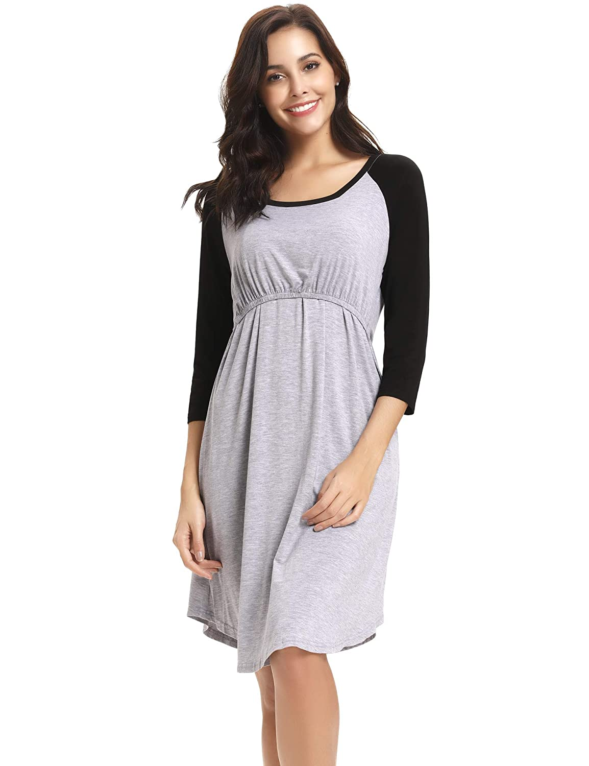 441ac2e542 Aibrou Womens Maternity Dress Nursing Nightgown for Breastfeeding  Nightshirt Sleepwear S-XXL Gray at Amazon Women s Clothing store