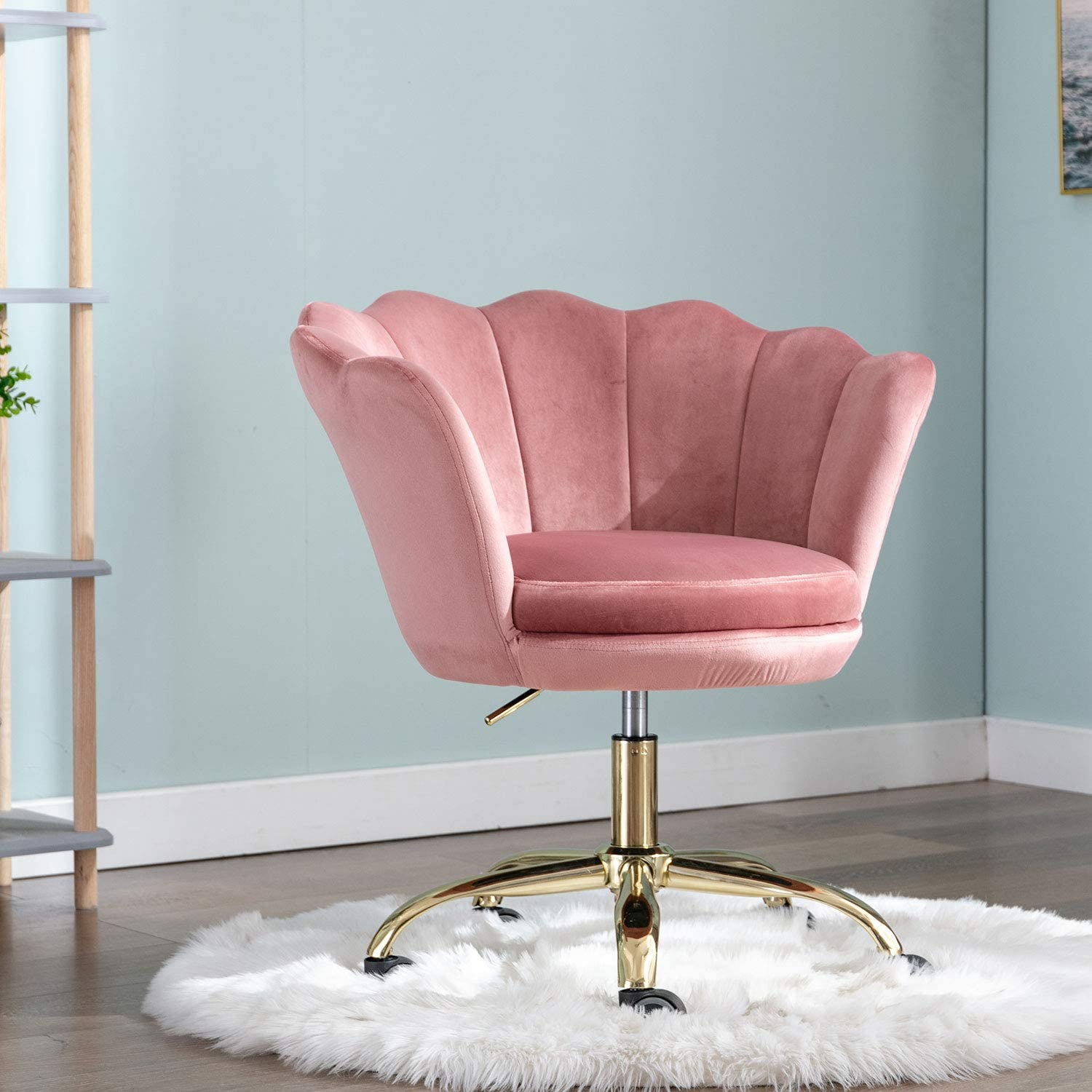 Comfy Upholstered Lotus Office Chair, Velvet Accent Armchair, Adjustable Swivel Task Stool with Gold Plating Base (Blush Pink)