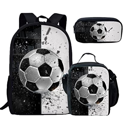 88ef7ba860bb Coloranimal Cool 3D Soccer Pattern School Backpack with Lunch Box with  Pencil Holder
