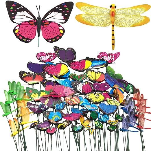 Aisamco - Juego de 70 Piezas para decoración de jardín, 50 Mariposas con 5 tamaños Diferentes y 20 libélulas, Adornos de jardín y decoración de Patio, Suministros de Fiesta de Mariposas: Amazon.es: Jardín