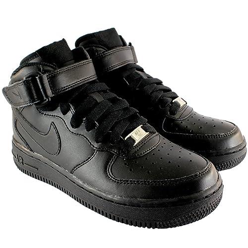 timeless design f9c82 dda05 Mujer Nike Air Force 1 Mediados Top Cordones Tobillo Tira Sneaker  Entrenadores - Negro - 42.5  Amazon.es  Zapatos y complementos