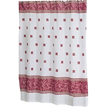 Carnation Home Fashions Windsor 6 Feet By 6 Feet Fabric Shower Curtain,  Burgundy