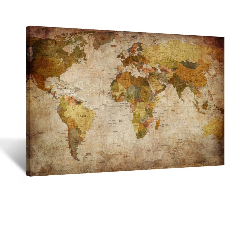 Kreative Arts - Large Size Vintage World Map Giclee Canvas Prints Artwork Pictures Modern Stretched and Framed Paintings on Canvas Wall Art for Living Room Bedroom Home Decor (Stretched Canvas)