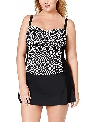 9b16b7aa9826e Swim Solutions Women s Plus-Size Double Diamond Print Colorblocked  One-Piece Swimdress (18W