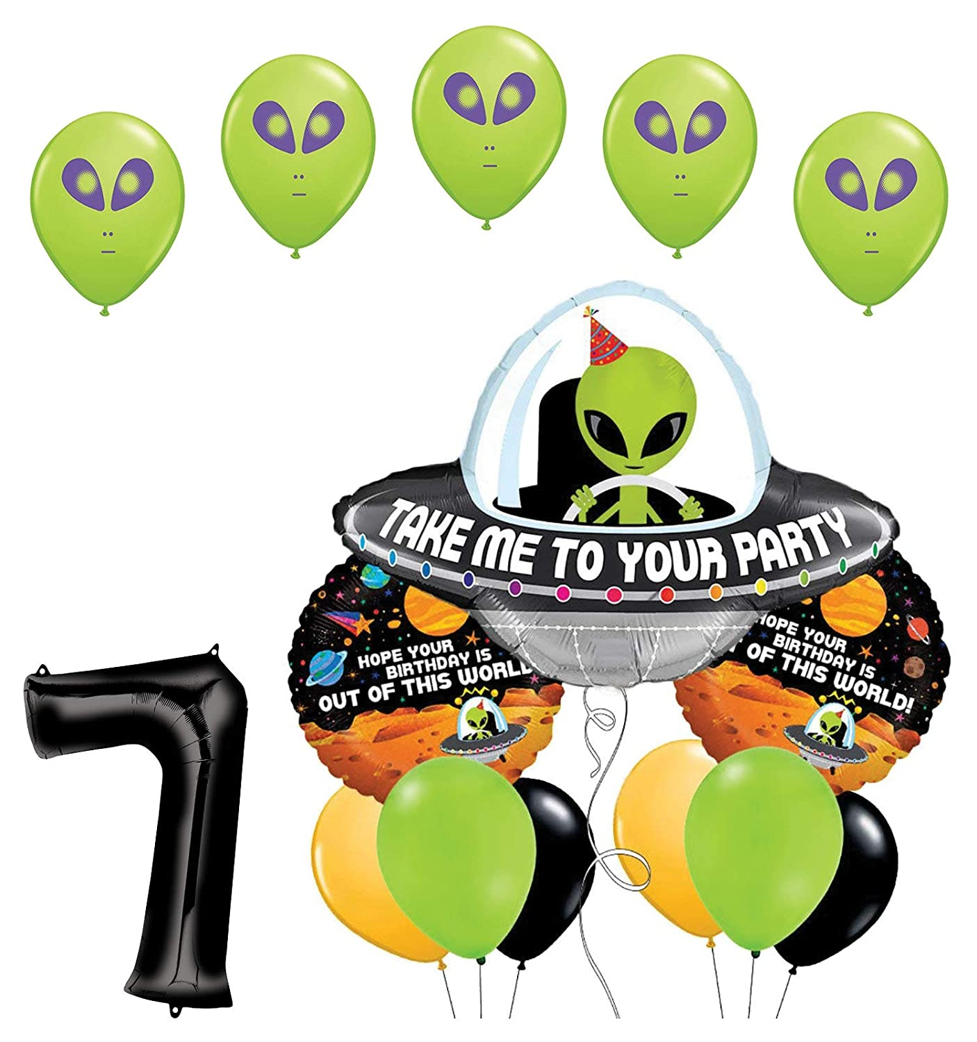 Space Alien 7th Birthday Party Supplies Balloon Bouquet Decorations