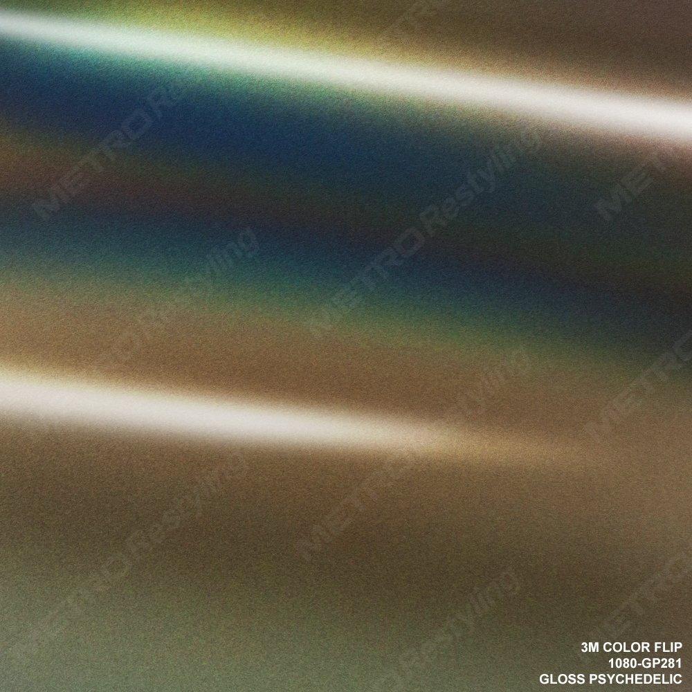3M 1080 GP281 Gloss FLIP Psychedelic 3in x 5in Sample Size Car Wrap Vinyl Film