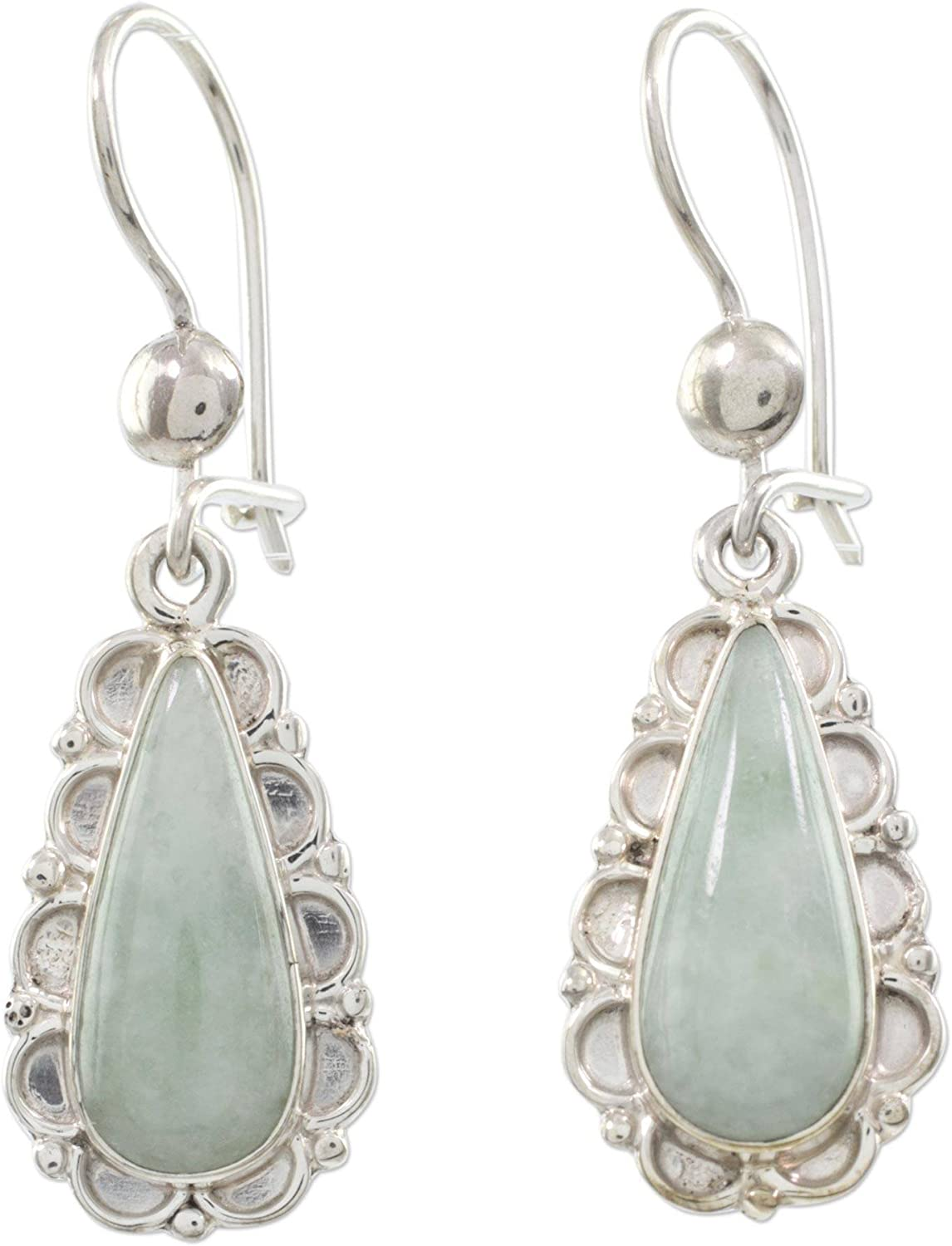 NOVICA Jade and .925 Sterling Silver Flower Dangle Earrings, Blossoming Green Dew'
