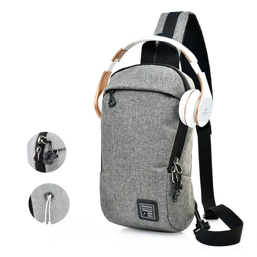 Aolvo Sling Bag, Men Women Crossbody Chest Backpack Unbalance Daypack with Anti-Theft Design for Hiking Travelling Cycling Outdoor Sports (Dark Grey)