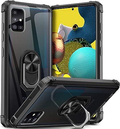 Dosnto Für Samsung Galaxy A51 Hülle Silikon Tpu Slim Case Mit 360 Grad Ring Ständer Handyhülle Verstärkter Fallschutz Magnetische Autohalterung Transparent Schutzhülle Schwarz Elektronik
