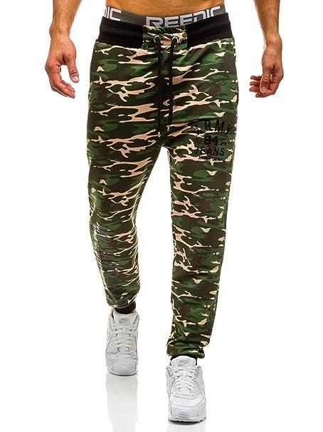 BOLF Hombre Pantalones Camuflaje Bolsillos Gym Jogging Tiempo Libre JIM POWEEL 5121 Verde XL [6F6