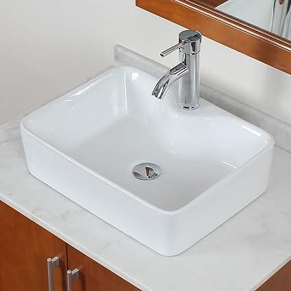 Elite Bathroom Rectangle White Porcelain Ceramic Vessel Sink Short