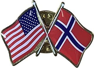 product image for Gettysburg Flag Works Set of 3 Norway & U.S. Crossed Flags Double Waving Friendship Lapel Pin - Proudly Made in The USA