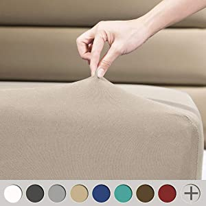 """COSMOPLUS Fitted Sheet Twin Fitted Sheet Only(No Flat Sheet or Pillow Shams),4 Way Stretch Micro-Knit,Snug Fit,Wrinkle Free,for Standard Mattress and Air Bed Mattress from 8"""" Up to 10"""",Taupe"""
