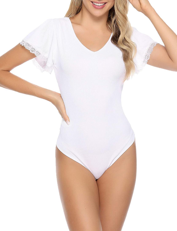 Aibrou Damen Kurzarm Body T-Shirt Elastisch Damenbody Stringbody Overall Bodysuit Top mit Tiefem Rundhals Ausschnitt