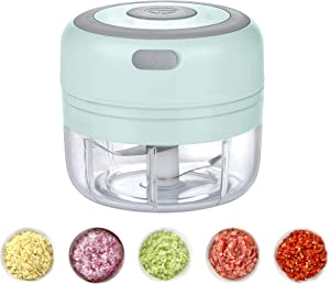 Electric Mini Garlic Chopper, Cordless Garlic Press Food Processor with Stainless Steel Blades, USB Rechargeable Portable Grinder Mincer for Kitchen Fruits Vegetables Garlic Onion (Green)