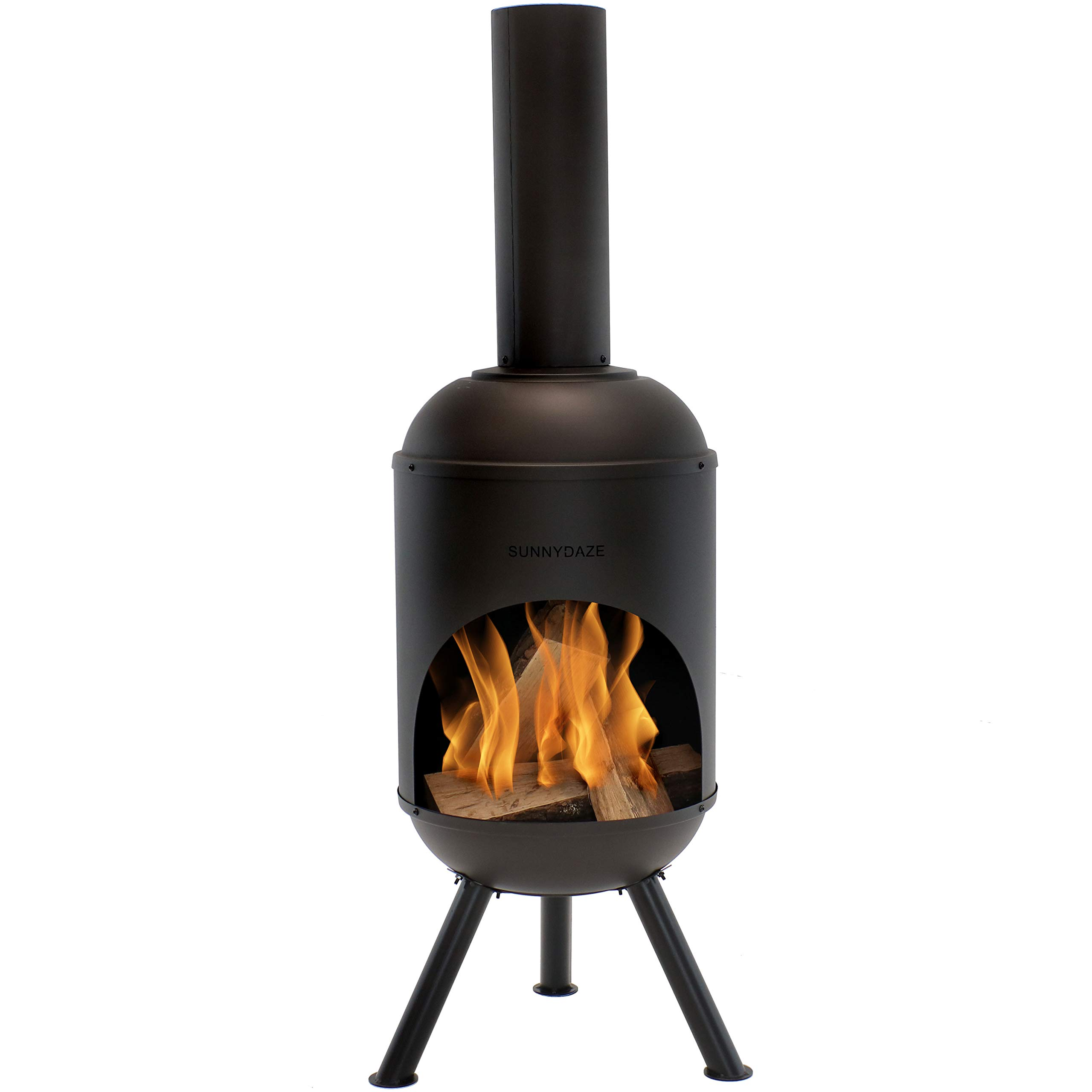 Sunnydaze Modern Chiminea - Steel Outdoor Wood-Burning Fire Pit - Large 5-Foot Black Fireplace - Durable Wood Grate - Quick & Easy Assembly - Perfect for Patio, Deck or Backyard Use by Sunnydaze Decor