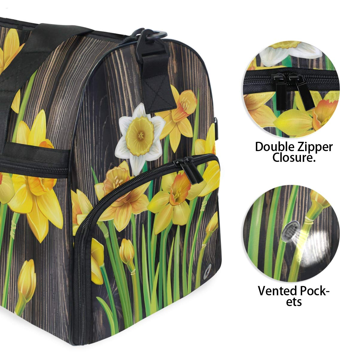 Vacation Travel Duffel Bag Daffodils Flowers On The Wooden Waterproof Lightweight Luggage bag for Sports Gym