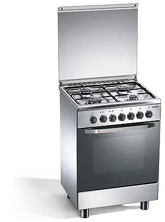 Cocina a gas 4 quemadores 60x50x85 cm inox con horno eléctrico ...