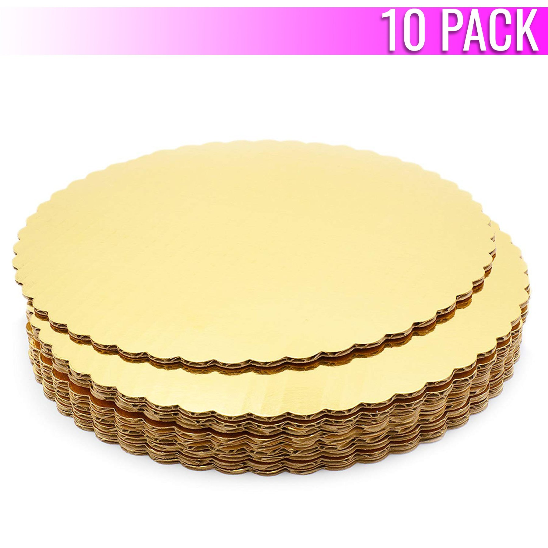 Chefible Premium Gold Cake Circles, Corrugated, Cake Board, 12 Inch Diameter, Pack of 10