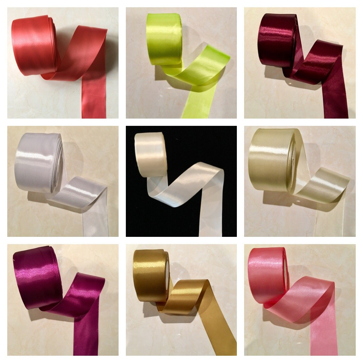 2'' Single Face Satin Ribbon Price Per Roll/25 Yards in Old Gold Available in 10 Colors Sewing888