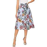 SheIn Faldas Estilo Bohemio de Verano con Estampado Floral en la Cintura, línea A, con Vuelo, para Mujer