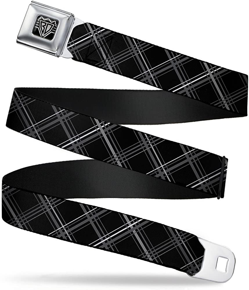 "B071X7XBBC Buckle-Down Seatbelt Belt - Plaid X Black/Gray - 1.5"" Wide - 32-52 Inches in Length 71bpWMQk9-L"
