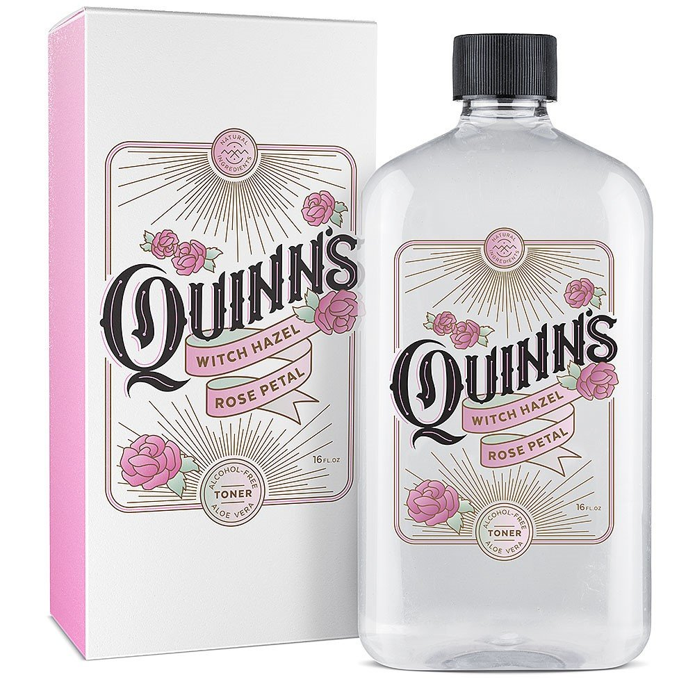 Quinn's Alcohol Free Witch Hazel 16 ounce Rose Petal and Aloe Vera Natural Toner for Face and Skin. by Quinn's