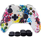 Hikfly Silicone Gel Controller Cover Skin Protector Kits for Xbox One/Xbox One S/Xbox One X Controller Video Games(1 x Controller Camouflage Cover with 8 x Thumb Grip Caps)(White Paints)