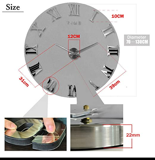 Amazon.com: Modern Design DIY 3D Big Wall Clock Home Decor Quartz Horloge Wall Watch Stickers Reloj De Pared Acrylic Mirror Clocks 20 Inch (Silver Color): ...