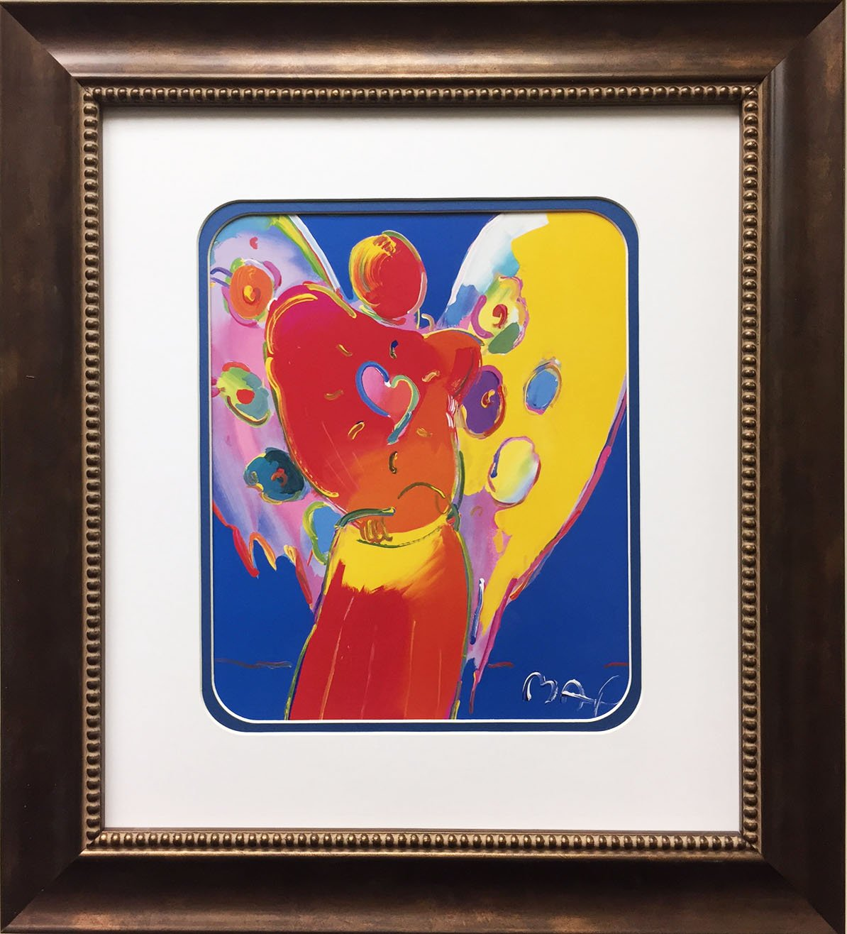Peter Max ''Angel With Heart'' Newly CUSTOM FRAMED Art Print by Peter Max