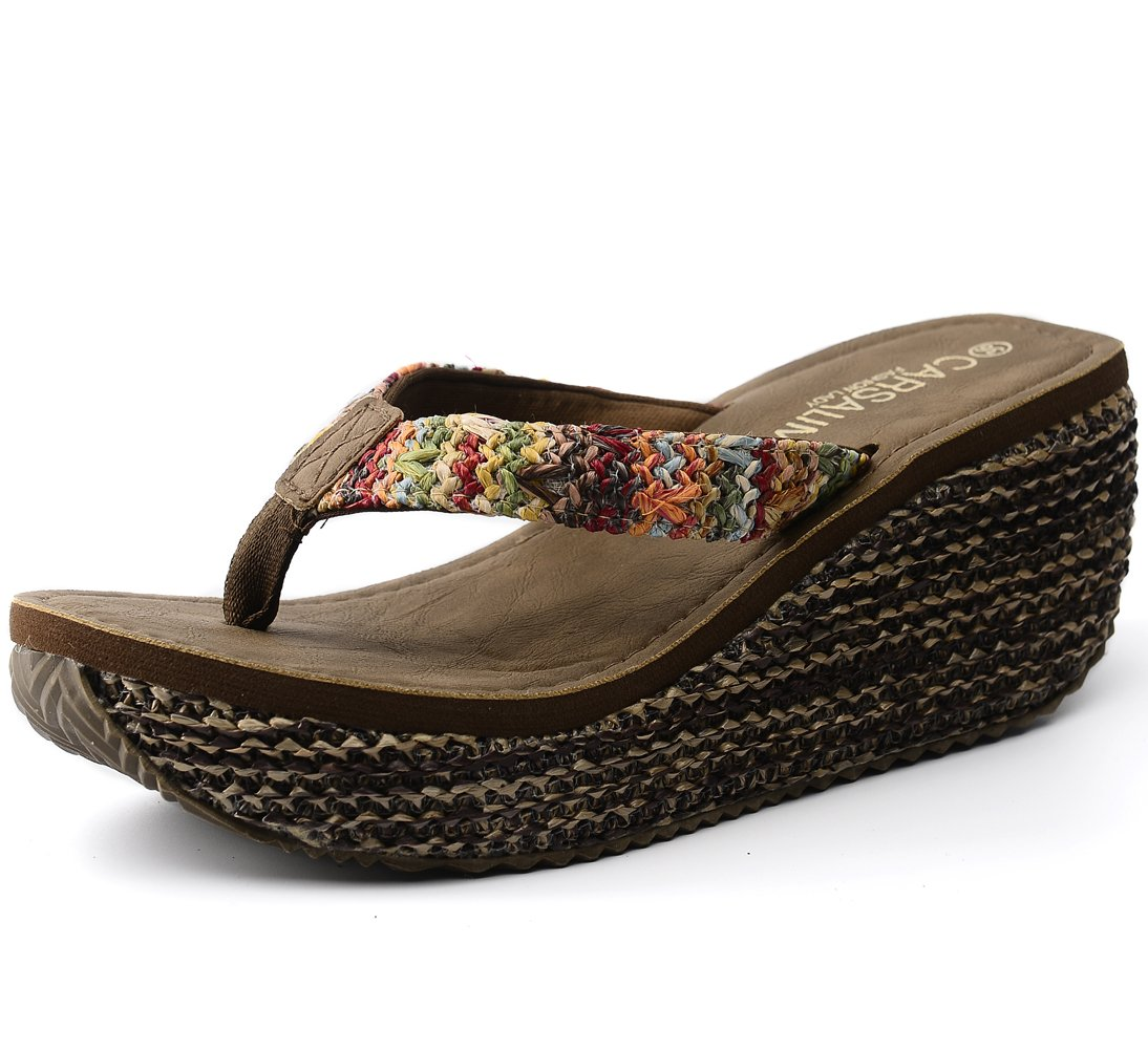 OPIYNO Women Tyra Kapa Bohemia EVA Platform Flip Flops High Heel Thong Sandals B00Y2GU9OK 6 B(M) US|Brown
