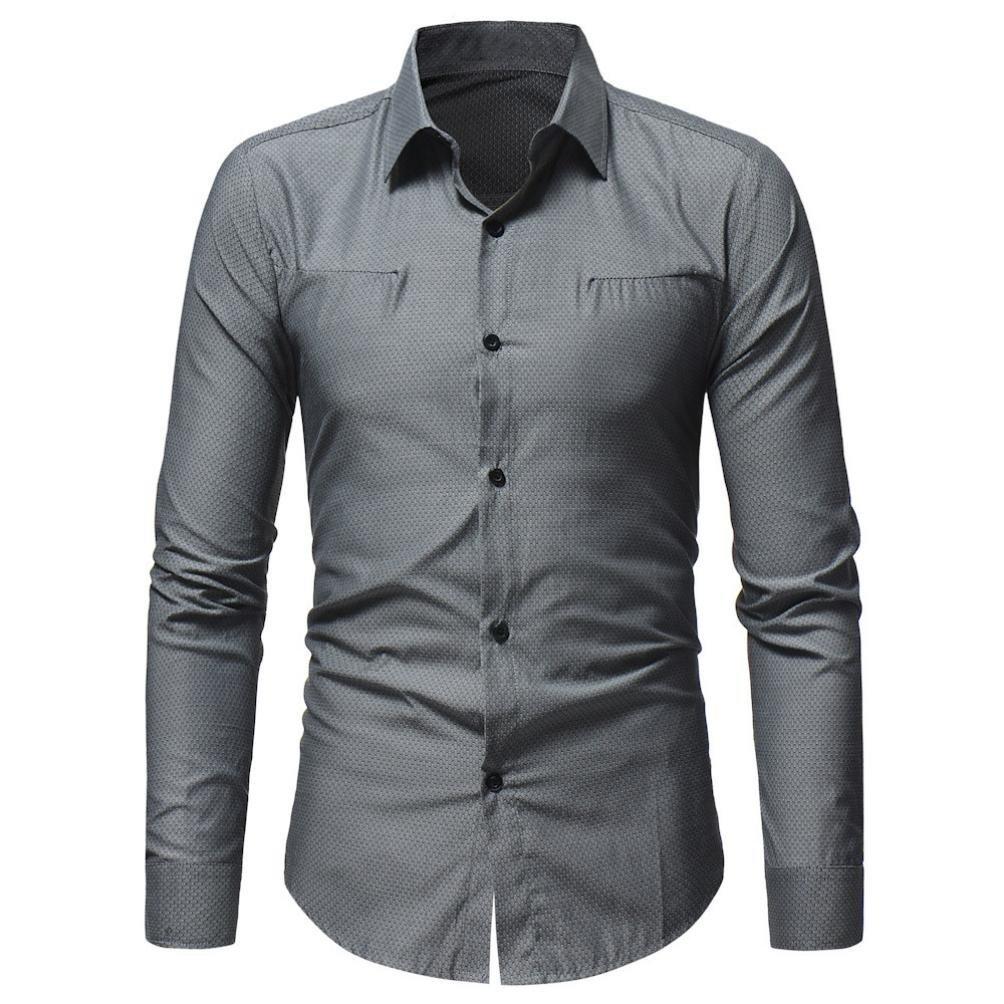 WWricotta Camisetas Negocio Hombre Manga Larga Casual Camisas Formales Trajes