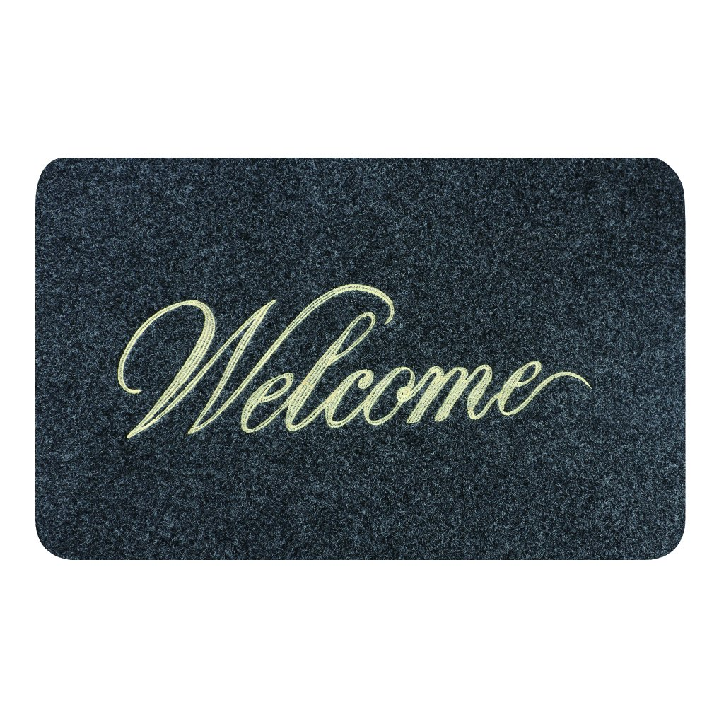 """GRECUTE Gomma zerbino per porta di ingresso con scritta /""""Welcome/"""" 18 inch by 30 inch in lingua inglese Grey"""
