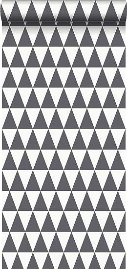 Captivant Papier Peint Intissé éco Texture Impression à La Craie Triangle Géométrique  Graphique Noir Et Blanc Mat