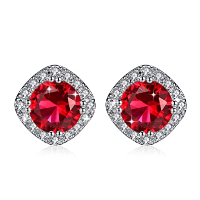 6cda705c1 Stud Earrings White Gold Plated with Red Cubic Zirconia For Engagement  Wedding Bridal Women & Girl