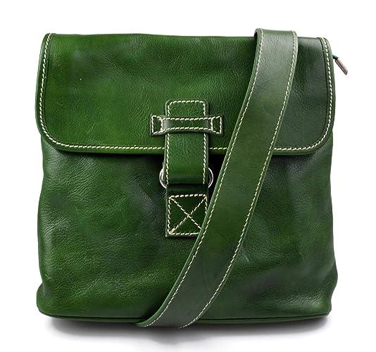 Bandolera de cuero bolso hombre piel bolso de cuero verde ...
