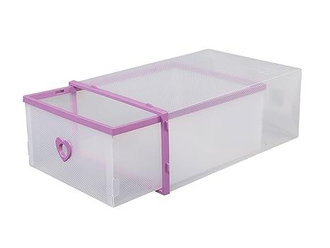 smilun Zapatos Cajas apilable Corazón Transparente Zapatos Caja Almacenamiento (Buzón zapatero, plástico, morado