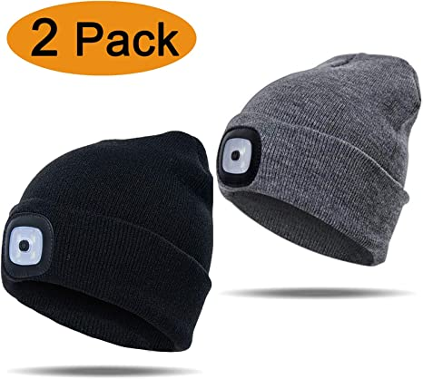 LED Beanie Hat Battery Power Unisex Winter Warm Head Cap Lamp Light Hats UK