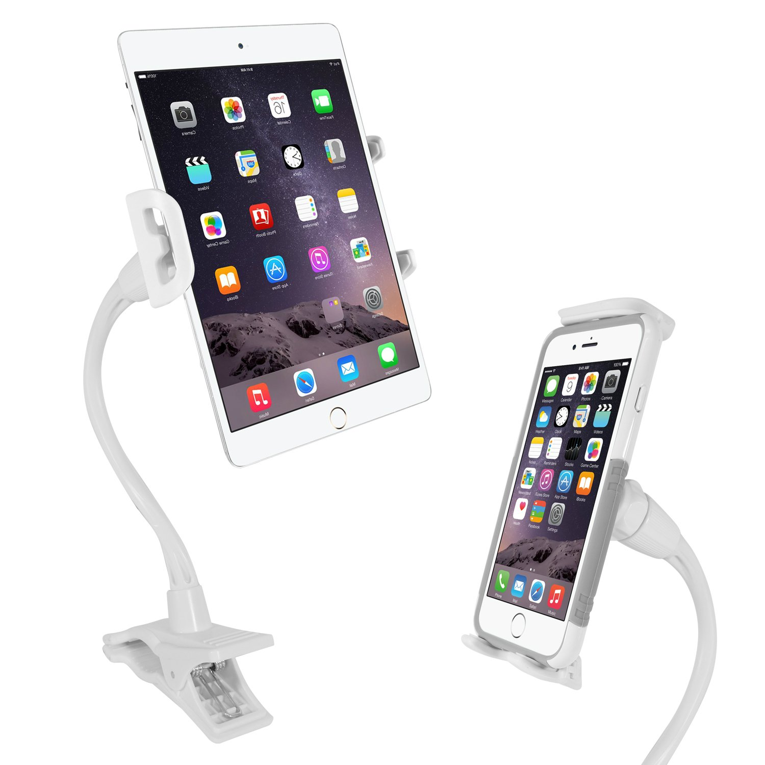 Macally Flexible Gooseneck Tablet Holder, Clamp Mount Stand with Lazy Arm Phone Holder Clip for The iPad Pro 10.5/9.7 Air Mini iPhone Nintendo Switch Samsung Galaxy Tab etc.