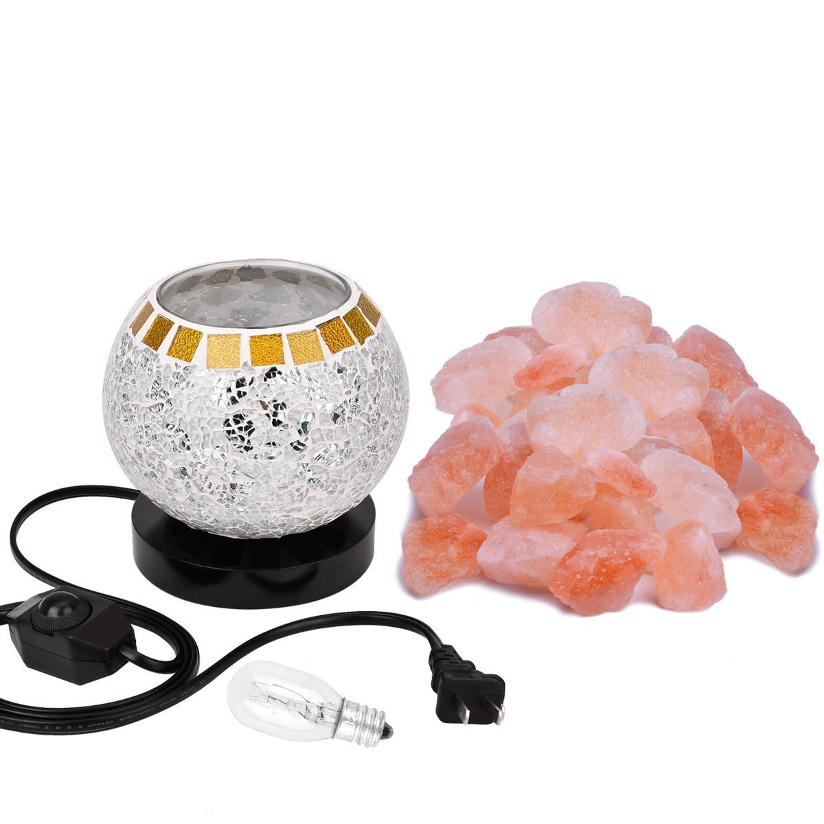 Himalayan Salt Lamp, Natural Crystal Salt Lamp Salt Chunks in Glass Bowl with Wood Base, Bulb and Dimmer Control for Christmas Gift and Home Decorations. [energy class a+++] by COOWOO (Image #8)