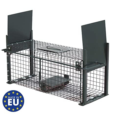 Piège De Capture Infaillible Cage Pour Petits Animaux Lapins Rats Rongeurs 50x18x18cm Avec Deux Entrées 5006