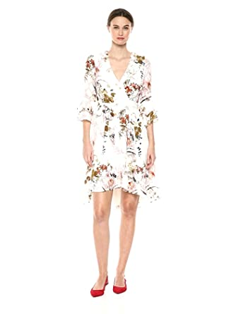 2871c9cbdf Gabby Skye Women s 3 4 Bell Sleeve Floral Wrap Dress at Amazon ...