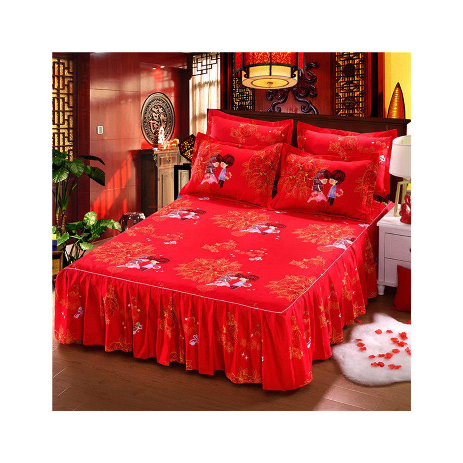 Classic Single Layer Bed Skirt Bedding Sets Non Slip Sheet Cover Bed Sheet Room Decor Flower Printing Bedspread Pillowcase 3Pcs,1,120X200Cm