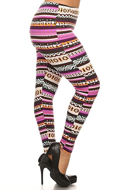 1a77aaa83318e0 World of Leggings Pink Garland Plus Size Fleece Leggings at Amazon Women's  Clothing store: